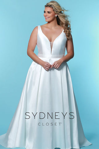 Sydney's Closet SC 5229 Glow from within on your wedding day wearing this simple but strikingly elegant plus size deep v neckline bridal dress. This timeless Mikado satin V-neckline wedding dress comes with a sheer modesty panel. Sweeping A-line skirt flatters every figure. Pockets add a playful - and useful - design detail. Bra-friendly straps and center-back zipper provide style and comfort. Designer Sydney's Closet Style SC5229 for curvy brides who wear plus sizes, super sizes 14 to 40.