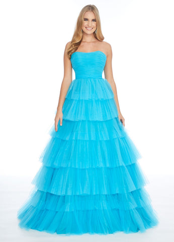 Ashley Lauren 1866 strapless layered tulle skirt A line prom dress Neon Gown Formal