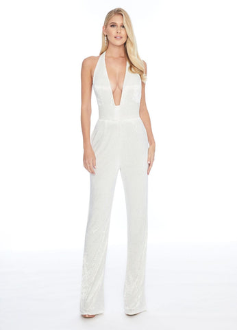Ashley Lauren 1838 plunging neckline liquid beading jumpsuit Pockets Plunging