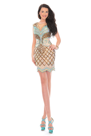 Precious Formals 9332 Short Sequin Cocktail Gold Dress Sheer High Neck evening