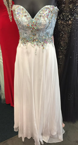 Precious Formals Glam Gurlz style S 53002 is a long chiffon prom gown with hand beaded crystal and lace over sweetheart neckline. Nice evening gown or spring formal dress.