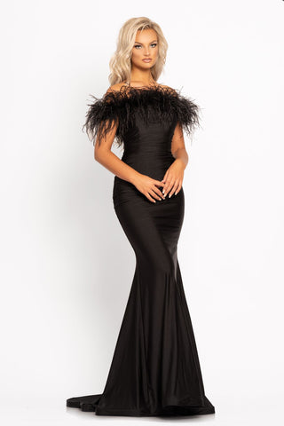 Johnathan Kayne 2280 This is a long stretch fitted mermaid prom dress with a removable feather boa.  The neckline on this evening pageant gown is straight and the boa can detach in serval different ways to create different looks.  Colors Black, Hot Pink, Royal  Sizes  00, 0, 2, 4, 6, 8, 10, 12, 14, 16, 18