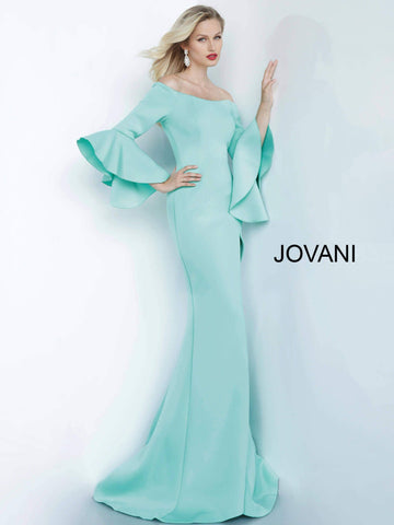 Jovani 1588 off the shoulder bell sleeve long mermaid prom dress evening gown   Available colors:  Blush, Dark Green, Light Blue, Mint, Navy, Off White, Purple, Tomato, Wine   Available sizes:  00-24