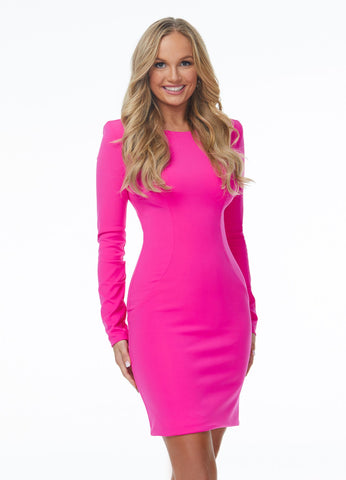 Ashley Lauren 4336 The perfect short dress does exist! This fitted crew neck short cocktail dress features long sleeves and an exposed zipper back.  Colors Turquoise, Fuchsia, Neon Orange  Size  0, 2, 4, 6, 8, 10, 12, 14, 16  Long Sleeve Full Zipper Back Crew Neck Shoulder Pads Fitted