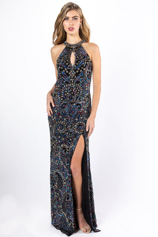 Primavera Couture 3219 Black Multi,  Platinum Multi sizes 00-18  Keyhole neckline prom dress with a slit multi colored beaded sequins long evening gown formal dress