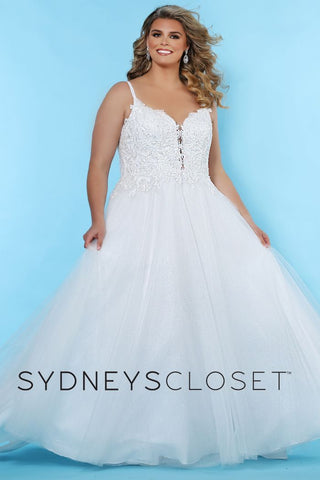 Sydney's Closet SC 5239 Josie You're a modern, fashionable bride with a nod to the traditional in this plus size lace applique wedding dress. Exquisite beaded lace bodice with V-neckline and spaghetti straps. Flattering A-line silhouette with a glitter tulle skirt.  Plunging V-neckline trimmed with lace appliques adds a hint of sex appeal. Center-back zipper and chapel train.  SC5239