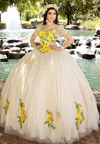 Camila Q Quinceanera Dress 1001 Two piece Floral Ballgown Train Corset Strapless