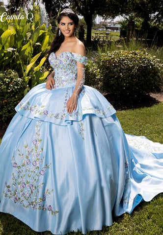 Camila Q Quinceanera Dress 1002 Off Shoulder Convertible Gown two piece Ballgown