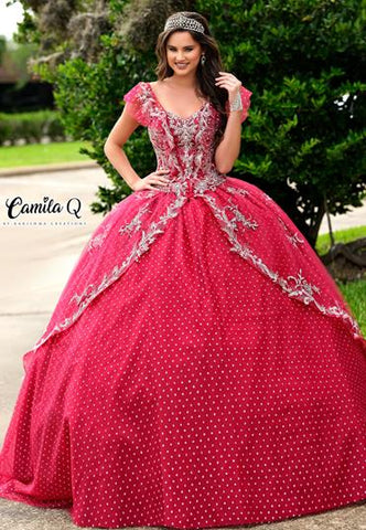 Camila Q Quinceanera Dress 1004 two piece Corset ballgown Princess Cap Sleeves
