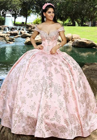 Camila Q Quinceanera Dress 1005 Corset two piece ballgown train off Shoulder Sleeve