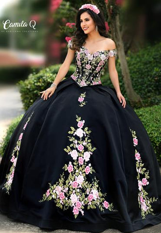 Camila Q Quinceanera Dress Q 1006 off the shoulder two piece floral embroidered satin quince gown.  Available colors:  Black, Champagne