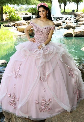 Camila Q Quinceanera Dress Q 1007 off the shoulder beaded floral applique bodice with full layered tulle skirt with matching floral applique. This is a two piece quince gown so you can wear the top at other events.  Sweet Sixteen Dress