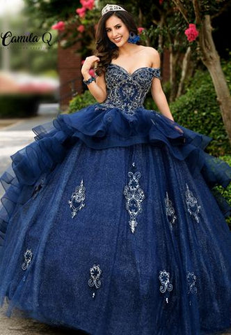 Camila Q Quinceanera Dress Q1008  off the shoulder gold thread embellished quince gown with full glitter tulle skirt with applique.  Sweet Sixteen Dress  Available colors:  Burgundy, Navy