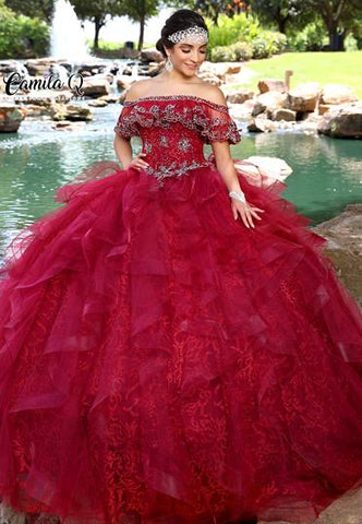Camila Q Quinceanera Dress Q1010 off the shoulder ruffle neckline embellished bodice and layers of ruffles full skirt.  Sweet Sixteen Dress   Available colors:  Burgundy, Red