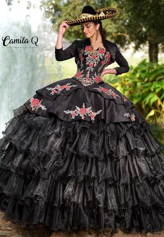 Camila Q Quinceanera Dress Q 1011 This quince gown features a detachable full skirt so you can wear the dress as a high low.  It has a straight neckline with v cutout and lace up corset back and a long sleeve bolero jacket.   Available colors:  Red White, Black