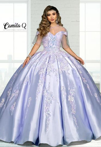 Camila Q Quinceanera Q1111 off the shoulder embellished Quince Gown with lace up corset back Colors Lilac, Pearl Blush  Sizes  00, 0, 2, 4, 6, 8, 10, 12, 14, 16, 18, 20, 22, 24, 26, 28, 30