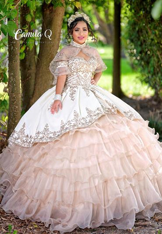 Camila Q Quinceanera Q1112 off the shoulder straps with a little extra organza on the sleeve sweetheart neckline velvet and organza ruffle Quince Ball Gown with corset lace up back and matching sheer cape Colors  Hunter Green/Champagne, Ivory/Champagne  Sizes  00, 0, 2, 4, 6, 8, 10, 12, 14, 16, 18, 20, 22, 24, 26, 28, 30