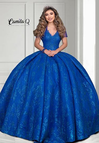 Camila Q Quinceanera Q1113 sheer glitter straps with bolero jacket and corset back Quince Gown Sweet 16 dress Colors Cobalt, Rose Gold  Sizes  00, 0, 2, 4, 6, 8, 10, 12, 14, 16, 18, 20, 22, 24, 26, 28, 30