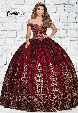 Camila Q Quinceanera Q1114 off the shoulder beaded sequin tulle Quince Gown with lace up corset back Colors Burgundy/Gold, Colbalt/Silver  Sizes  00, 0, 2, 4, 6, 8, 10, 12, 14, 16, 18, 20, 22, 24, 26, 28, 30