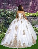 Camila Q Quinceanera Q1115 off the shoulder with a strap glittered tulle ball gown with embellished applique lace and lace up corset back. Perfect for your next Quince or Sweet 16.  Colors  Ivory/Gold, Midnight/Gold  Sizes  00, 0, 2, 4, 6, 8, 10, 12, 14, 16, 18, 20, 22, 24, 26, 28, 30