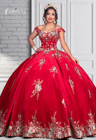 Camila Q Quinceanera Q1117 off the shoulder velvet ball gown with floral applique and lace up corset back.  The ultimate full Quince, Sweet 16, prom or pageant dress. Colors  Black/Multi, Red/Multi  Sizes  00, 0, 2, 4, 6, 8, 10, 12, 14, 16, 18, 20, 22, 24, 26, 28, 30