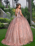 Camila Q Quinceanera Q1118 off the shoulder glittered tulle ball gown with lace up corset back full ball gown skirt Colors  Dusty Rose/Lilac, Champagne/Gold  Sizes  00, 0, 2, 4, 6, 8, 10, 12, 14, 16, 18, 20, 22, 24, 26, 28, 30