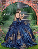Camila Q Quinceanera Q1119 sheer flowy organza that as beaded with sequin details has a sweetheart neckline with beaded straps and lace up corset back.  Colors  Navy/Gold, Turquoise/Gold  Sizes  00, 0, 2, 4, 6, 8, 10, 12, 14, 16, 18, 20, 22, 24, 26, 28, 30