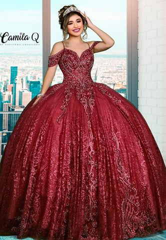 Camila Q Quinceanera Q1122 beaded shimmer tulle with off the shoulder straps and lace up corset back Colors  Iridescent Burgundy, Royal/Silver  Sizes  00, 0, 2, 4, 6, 8, 10, 12, 14, 16, 18, 20, 22, 24, 26, 30