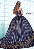 Camila Q Quinceanera Q1123 long satin full ball gown for your Quince or Sweet Sixteen is beaded with sequin design for a little extra shimmer.  Off the shoulder straps and lace up corset back make this your perfect Quince Dress.   Colors  Champagne/Gold, Navy/Gold  Sizes  00, 0, 2, 4, 6, 8, 10, 12, 14, 16, 18, 20, 22, 24, 26, 30