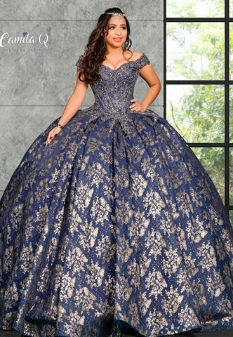Camila Q Quinceanera Q1124 off the shoulder straps with sweetheart neckline full tulle ball gown skirt glitter and applique lace sweet sixteen dress prom dress ball gown  Colors  Navy/Gold  Sizes  00, 0, 2, 4, 6, 8, 10, 12, 14, 16, 18, 20, 22, 24, 26, 28, 30
