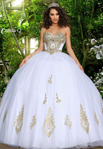 Camila Q17010 by Karishma Creations Is a is a long quinceanera dress, Prom Dress, Pageant Gown & Formal Evening Wear. This strapless sweetheart ballgown features a full tulle skirt with embellished appliques. Embellished applique bodice with a lace up corset back closure. Q17010 Sweet 16 Dress  Available Colors: White/Gold, Red/Gold  Available Sizes:  00, 0, 2, 4, 6, 8, 10, 12, 14, 16, 18, 20, 22, 24, 26, 28, 30
