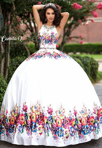 Camila Q Quinceanera Dress Q17041 High neckline floral printed satin with criss cross straps in the back and full skirt. Sweet sixteen dress.   Available colors:  Royal Multi, White Multi