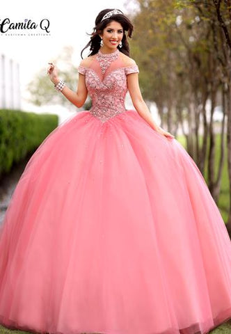 camila q quinceanera dress 17102 sheer high neckline
