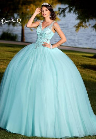 Camila Q Quinceanera Dress Q18002  V neckline with sheer sleeves and beading that drapes down the top of the shoulders and arms with a cutout back and corset and full tulle skirt