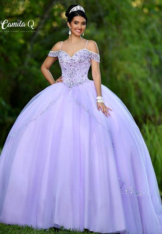 camila q quinceanera dress 18010 off shoulder princess