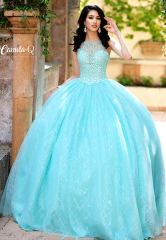 Camila Q Quinceanera Dress Q19001  embellished sheer neckline and embellished bodice with glitter tulle full skirt  ball gown prom dress sweet 16 dress pageant gown  Available colors: Aqua, Blush