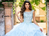 Camila Q Quince Quinceanera Dress Q19002 by Karishma Creations  Beaded Applique scoop neckline vertical layered tulle quinceanera gown. Ball gown prom dress full pageant gown sweet 16 dress