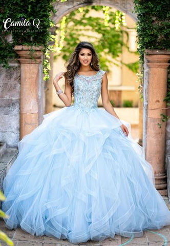 Camila Q Quince Quinceanera Dress Q19002 by Karishma Creations  Beaded Applique scoop neckline vertical layered tulle quinceanera gown. Ball gown prom dress full pageant gown sweet 16 dress  Champagne, Sky Blue