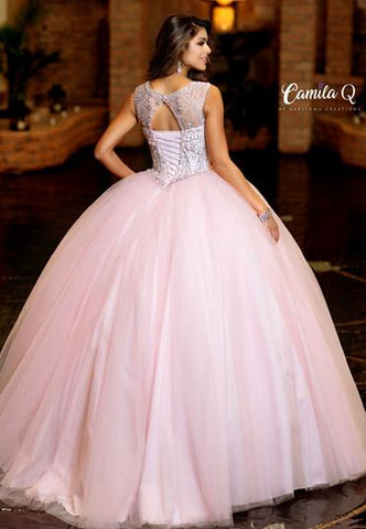 Camila Q Envious Quince Quinceanera Dress Q19005  Sleeveless embellished sheer neckline sweetheart bodice corset with v waistline tulle Quinceanera Gown Sweet Sixteen Dress full ballgown prom dress pageant gown   Available Colors: Light Pink, Navy