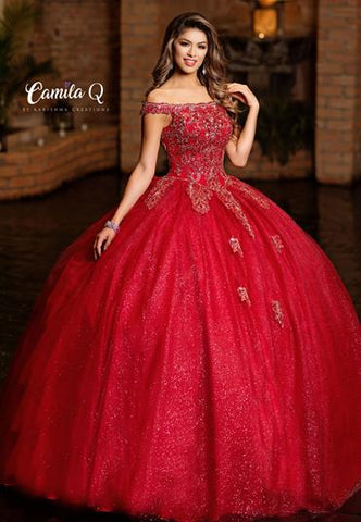 Camila Q Envious Quince Quinceanera Dress Style Q19007  Off the shoulder embellished applique glitter tulle Quinceanera Gown sweet sixteen dress full ball gown prom pageant gown
