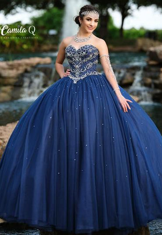 Camila Q Quinceanera Gown Q19008 sweetheart neckline embellished bodice full quince ball gown sweet sixteen dress prom dress pageant dress   Available colors:  Navy, Red, White  Available sizes: 00, 0, 2, 4, 6, 8, 10, 12, 14, 16, 18, 20, 22, 24, 26, 28, 30