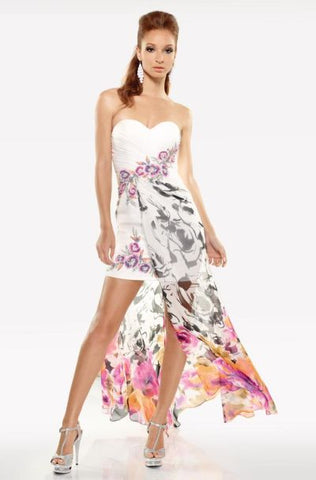 Riva R9630 Size 00 Short White High Low Floral Print Prom Dress Formal Cocktail