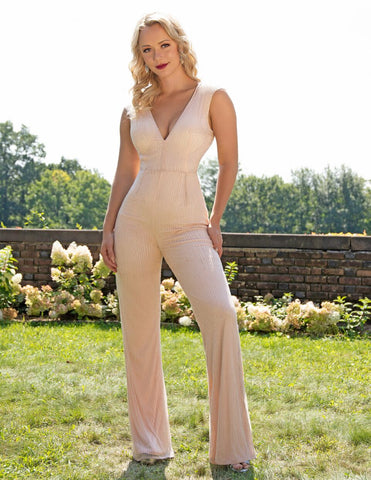 Primavera Couture 3260 Blush,  Midnight Sizes 00-18  Wide straps with covered back hand beaded jumpsuit formal evening wear pageant wear. Beaded Long Formal Jumpsuit V Neck Evening Wear