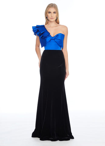 Ashley Lauren 1811 one shoulder ruffle bow bodice evening gown