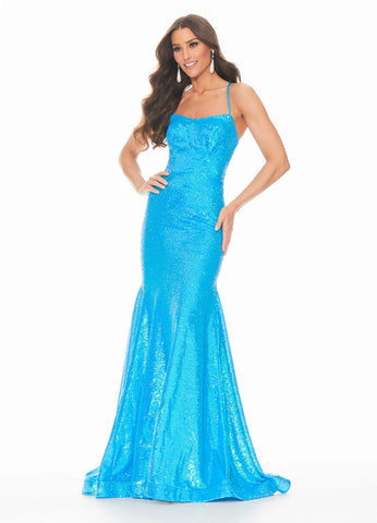 Ashley Lauren 11024 sz 10 Neon Blue Sequin Prom Dress with Lace Up Back Pageant Gown