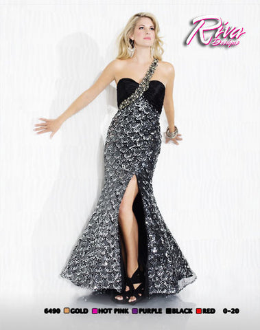 Riva Designs 6490 Prom Dress Black Sequin size 8 Mermaid Scales Crystal Strep