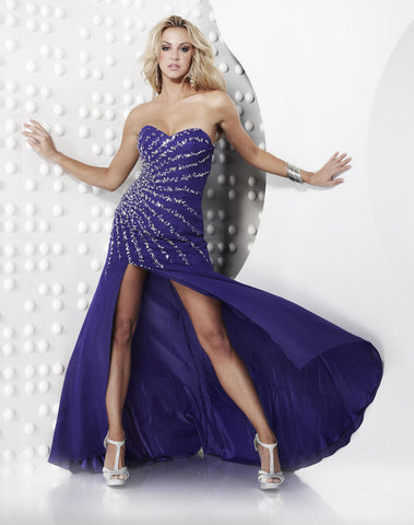 Riva R9492 Prom Dress Purple Size 14 Pageant Gown Long Slit Sequin Crystal