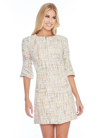 Ashley Lauren 4322 crew neck tweed cocktail dress with adjustable zipper