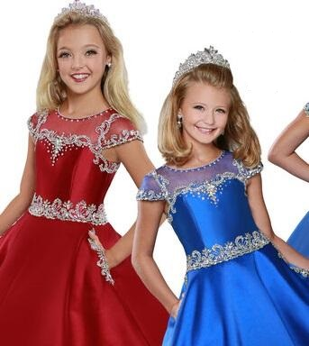 Ritzee Girls 746 Size 8 Long Pageant Dress Embellished Ballgown Pockets Sheer Cap Sleeve