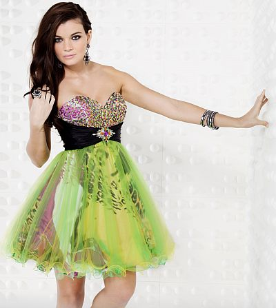 Riva Exclusive 6537 Short Neon Green Cocktail Dress Fit & Flare Homecoming Print